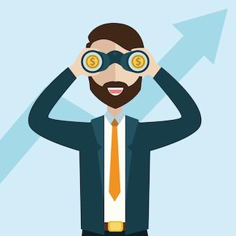 Zakenman die de groeigrafiek en geld zoeken. visieconcept. cartoon vectorillustratie