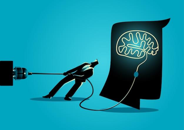 Zakenman die de hersenen proberen te ontkoppelen