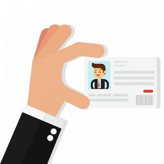 Zakenman die de identiteitskaart-kaart houdt