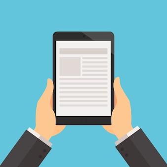 Zakenman die de tablet om tekst op de tablet te lezen