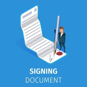 Zakenman die document met reusachtige ganzepen ondertekenen