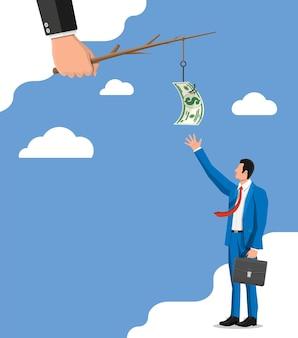 Zakenman die dollar op visserijhaak probeert te krijgen. geld val concept. verborgen lonen, zwarte salarissen, belastingontduiking, steekpenningen. anti-corruptie. vectorillustratie in vlakke stijl