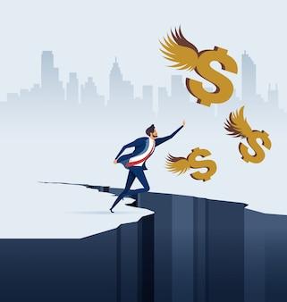 Zakenman die dollars achtervolgen in bedrijfsconcept