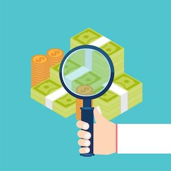 Zakenman die economische statistiek, webanalyses onderzoekt