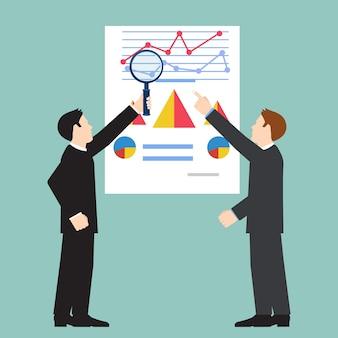 Zakenman die economische statistiek, webanalytics onderzoekt. financiële examinator. vector illustratie.