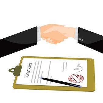 Zakenman die een document met pen en contract ondertekent