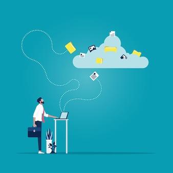 Zakenman die een document naar cloud netwerken lanceert