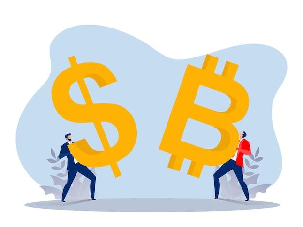Zakenman die een dollar- en bitcoin-munt vasthoudt om valuta te investeren