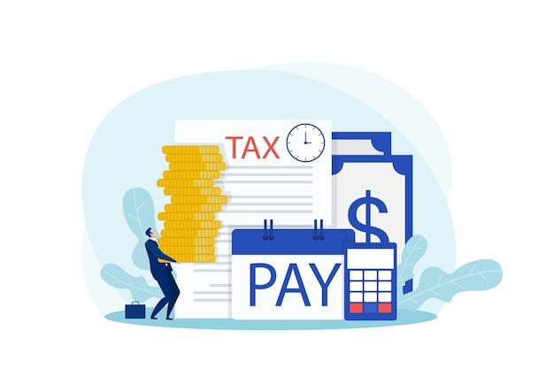 Zakenman die een grote munt met het woord belasting erop houdt