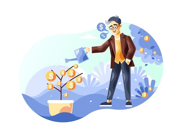 Zakenman die een illustratie van de geldboom water geven met een nieuwe beeldverhaal vectorstijl
