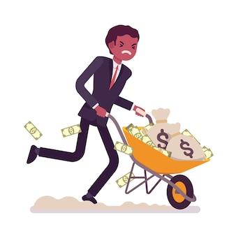 Zakenman die een kruiwagenhoogtepunt duwt van geld