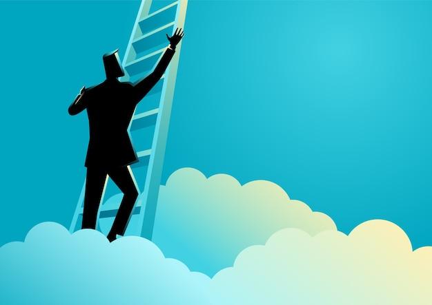 Zakenman die een ladder boven de wolken beklimt