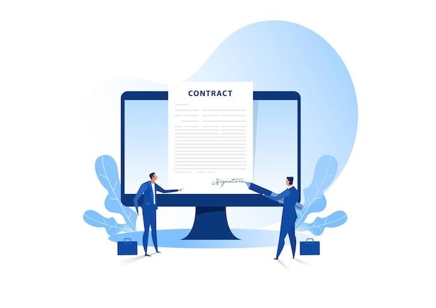 Zakenman die een overeenkomst of contract online ondertekent. vector