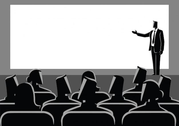 Zakenman die een presentatie op groot scherm geeft