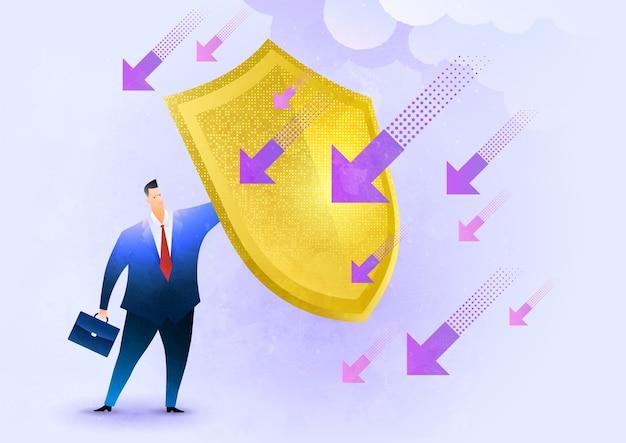 Zakenman die een schild houdt om zich tegen dalende pijlen te beschermen, bedrijfsverzekeringsillustratie