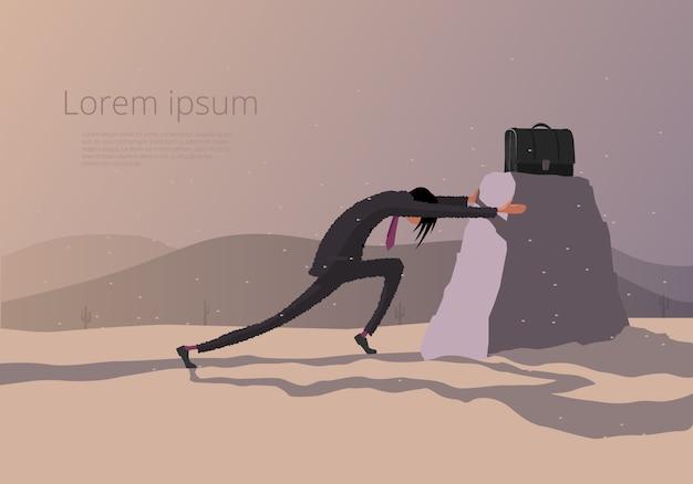 Zakenman die een steen met aktentas duwt. illustratie rond het thema hard werken.