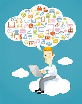 Zakenman die een tabletzitting op een wolk met sociale media gebruikt
