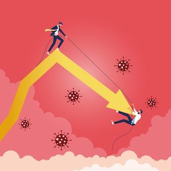 Zakenman die elkaar steunen om omhoog te klimmen om de pijl op te heffen van het vallen van zaken