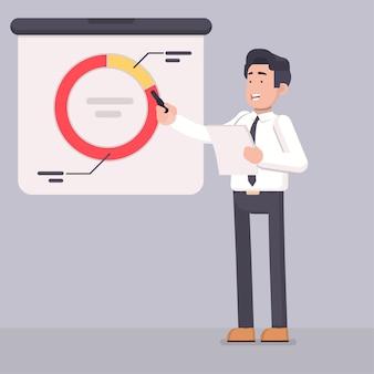 Zakenman die gegevens voorstelt en grafiek verklaart