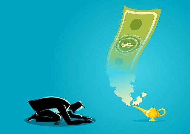 Zakenman die geld aanbidden dat van magische lamp verschijnt