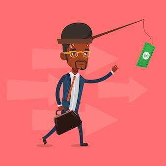 Zakenman die geld op hengel probeert te vangen.