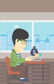 Zakenman die geld van online zaken verdient.