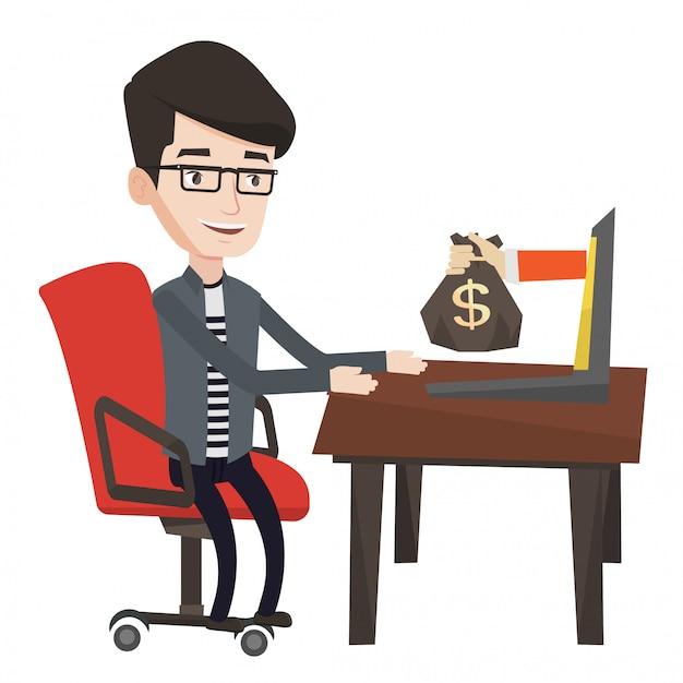 Zakenman die geld verdienen van online zaken.