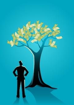 Zakenman die geldboom bekijkt
