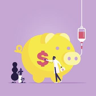 Zakenman die gezondheid van het conceptillustratie van de spaarvarken financiële crisis controleert