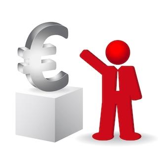 Zakenman die het euro-teken toont