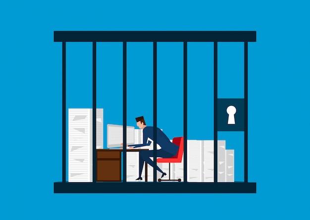 Zakenman die in de gevangenis werkt. illustrator