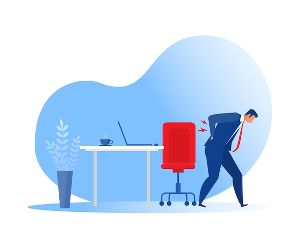 Zakenman die lijden aan rugpijn office-syndroom vlakke afbeelding. tekening