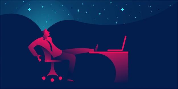 Zakenman die, lui zijn of dagdromen uitstellen op kantoor
