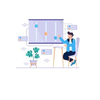 Zakenman die met een het conceptenilustration van het grafiekdiagram zit