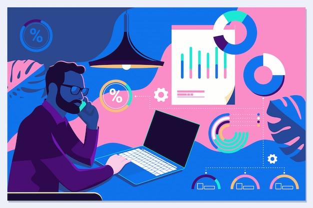 Zakenman die met grafieken in wisselwerking staan en statistieken en gegevens analyseren