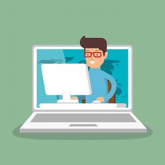 Zakenman die met laptop werkt