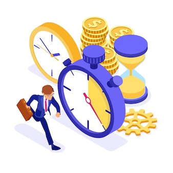 Zakenman die met muntstukken en klokken isometrische illustratie lopen