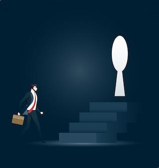 Zakenman die naar sleutelgat in uitdaging loopt