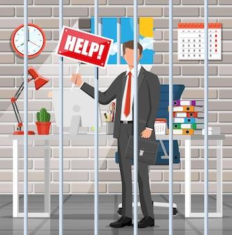 Zakenman die om hulp in de gevangeniscel roept. overwerkte zakenman in de gevangenis. stress op het werk. bureaucratie, papierwerk, deadline en papierwerk. vectorillustratie in vlakke stijl
