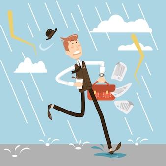 Zakenman die onder de regen aan het werk loopt