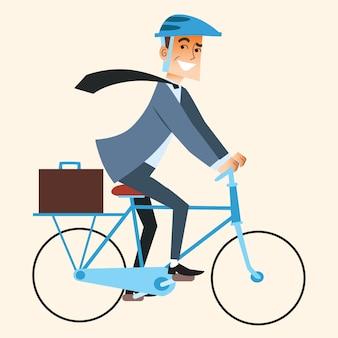 Zakenman die op de fiets op kantoor werkt