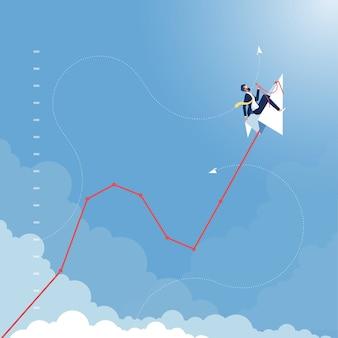 Zakenman die op document vliegtuig berijdt die de lijn van de de groeigrafiek van de bedrijfsfinanciën omhoog vliegen