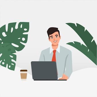 Zakenman die op een laptop computer werkt. administratie bij bureau. mensen uit het bedrijfsleven karakter. animatiescène voor bewegende beelden.