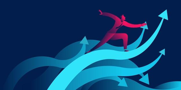 Zakenman die op golven als stijgende pijl surft. succes of groei bedrijf
