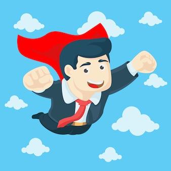 Zakenman die op hemel als een superheld vliegt. bedrijfsconcept. vector illustratie