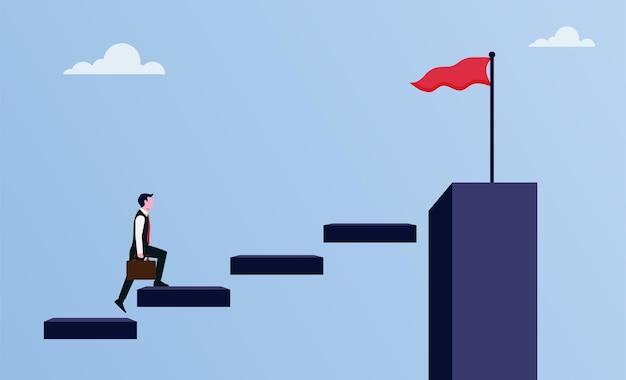 Zakenman die op trappen loopt om de illustratie van het doelsymbool, carrièregroei en -ontwikkeling te markeren