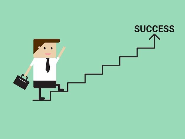 Zakenman die op treden aan succes loopt