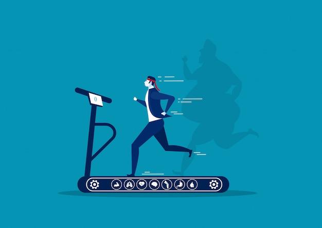 Zakenman die op tredmolen met verlies van het kerel het overmaatse vette kerelgewicht met heidepictogram op blauwe illustrator lopen als achtergrond.