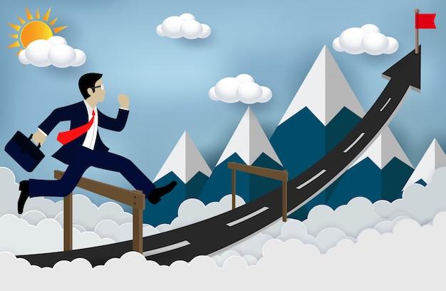 Zakenman die over hindernissen op de weg springt, succesvolle bedrijfspijlen is, en problemen of hindernissen overwint