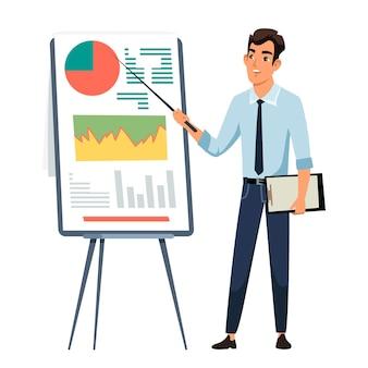 Zakenman die presentatie geeft, kantoormedewerker in de buurt van whiteboard met grafieken, diagrammen.